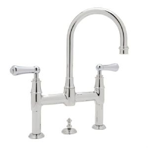 3708 Perrin & Rowe 3-hole Deck Mounted Bridge Mixer Tap With Pop-Up And Lever Handles